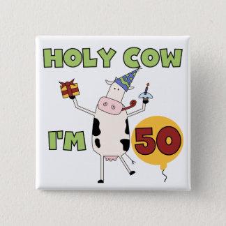 うわー私は50個の誕生日のTシャツおよびギフトです 5.1CM 正方形バッジ