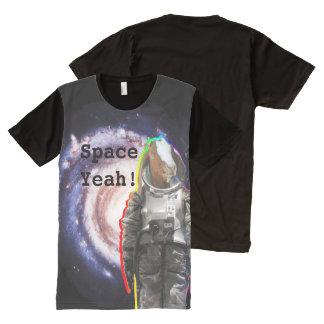 ええ宇宙の銀河系のヤギの宇宙飛行士の宇宙飛行士 オールオーバープリントシャツ