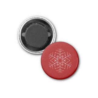 えんじ色および白いの雪片のデザイン マグネット