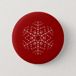 えんじ色および白いの雪片のデザイン 5.7CM 丸型バッジ