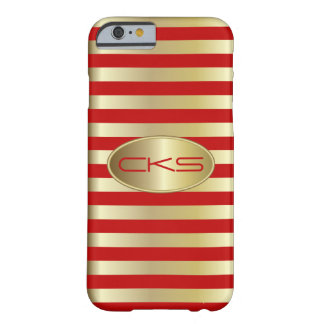 えんじ色および金ゴールドモノグラムのな を縞で飾ります BARELY THERE iPhone 6 ケース