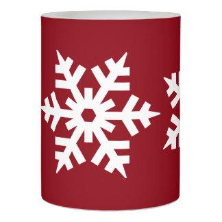 えんじ色および雪片 LEDキャンドル