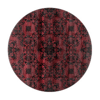 えんじ色および黒いゴシック様式グランジな幾何学的 カッティングボード