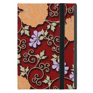 えんじ色のシャクヤクのアラベスク iPad MINI ケース