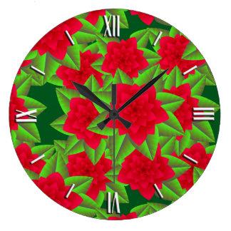 えんじ色のツバキおよび緑の葉 ラージ壁時計