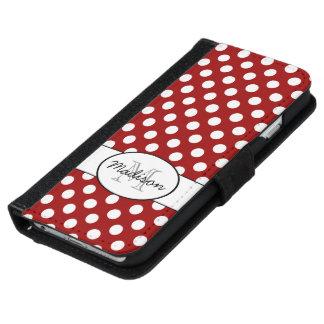 えんじ色の水玉模様のモノグラムのiPhone 6のウォレットケース iPhone 6/6s ウォレットケース