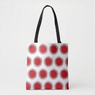 えんじ色の水玉模様の渦巻く円 トートバッグ