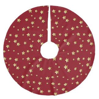 えんじ色の背景のメリークリスマスの金ゴールドの星 ブラッシュドポリエステルツリースカート