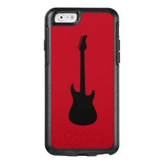 えんじ色の近代音楽の黒のエレキギター オッターボックスiPhone 6/6Sケース
