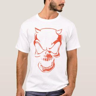えんじ色の鬼のスカル Tシャツ