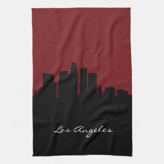 えんじ色ロサンゼルスのスカイライン| キッチンタオル