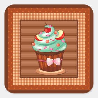 おいしいカップケーキのステッカー スクエアシール