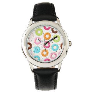 おいしいカラフルはドーナツのトッピングパターンを振りかけます 腕時計