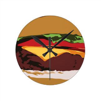 おいしいチーズバーガーの時計 ラウンド壁時計