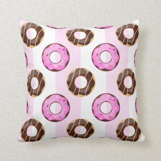 おいしいドーナツのピンクのストライプパターン枕 クッション