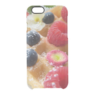 おいしいワッフルのラズベリーのブルーベリーの砂糖の花 クリアiPhone 6/6Sケース