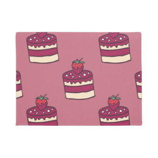 おいしい落書きのカップケーキパターン ドアマット
