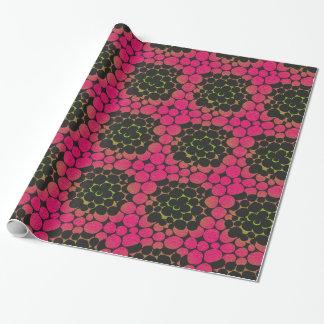 おこりっぽい花柄-ピンクおよびライム ラッピングペーパー