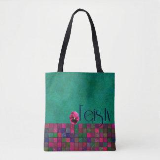 おこりっぽい-ティール(緑がかった色)、紫色、ピンク-ハンドバッグ トートバッグ
