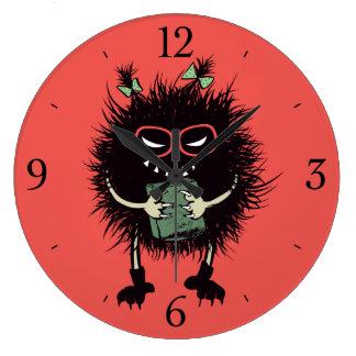 おたくの邪悪な虫の女子学生は読むことを愛します ラージ壁時計