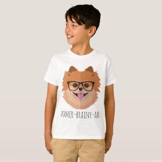 おたくガラスのポメラニア犬犬| POMER-BRAINY-AN Tシャツ