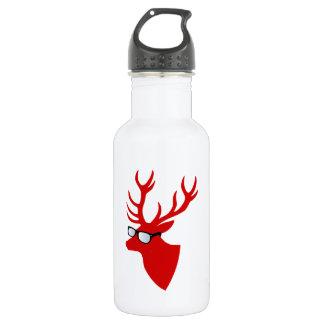 おたくガラスを持つ赤いクリスマスのシカ 532ML ウォーターボトル