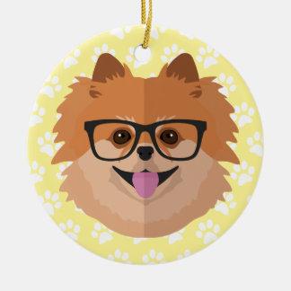 おたくガラス|のかわいいヒップスターのギフトのポメラニア犬犬 セラミックオーナメント