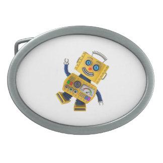 おっちょこちょいので黄色いおもちゃのロボット 卵形バックル