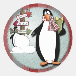 おっちょこちょいのなペンギン ラウンドシール