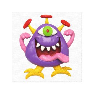 おっちょこちょいのな紫色モンスターの男の赤ちゃんのシャワーの子供部屋 キャンバスプリント