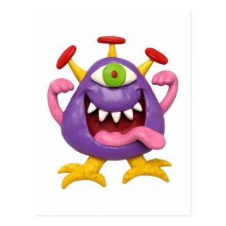 おっちょこちょいのな紫色モンスター ポストカード