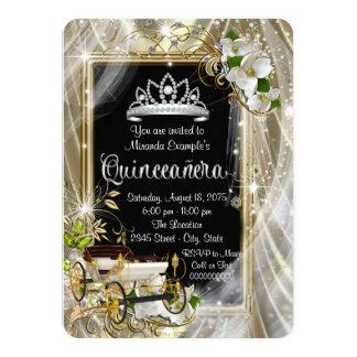 おとぎ話のプリンセスの黒および金ゴールドQuinceañera カード
