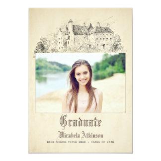 おとぎ話の古いヴィンテージの城の卒業パーティー 12.7 X 17.8 インビテーションカード