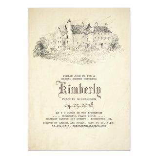 おとぎ話の古い城のヴィンテージのブライダルシャワー カード