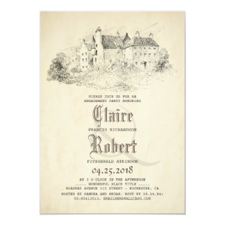 おとぎ話の古い城のヴィンテージの婚約パーティ カード