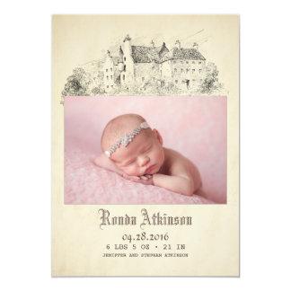 おとぎ話の城のプリンセスの生まれたばかりのなベビーの写真の誕生 カード
