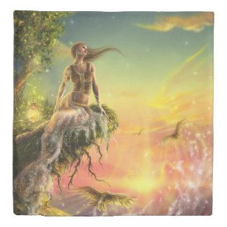 おとぎ話の夜明け(1つの側面)の女王の羽毛布団カバー 掛け布団カバー