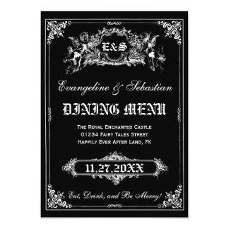 おとぎ話の物語の本の結婚式メニューカード カード
