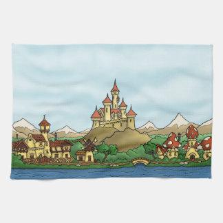 おとぎ話の王国のファンタジーの景色タオル キッチンタオル