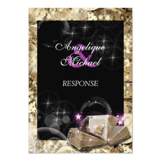 おとぎ話の結婚式の応答の金ゴールドの紫色 カード