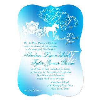 おとぎ話の結婚式キャリッジ孔雀青 カード