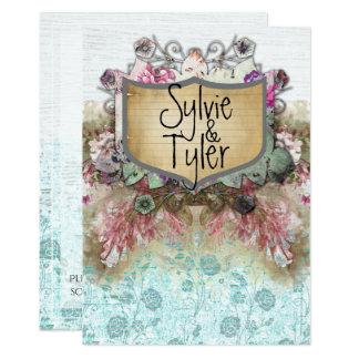おとぎ話の花のヴィンテージの名札の青のバラ カード