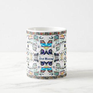 おはようのハチドリパターン コーヒーマグカップ