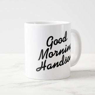 おはようのハンサムな白黒ジャンボマグ ジャンボコーヒーマグカップ