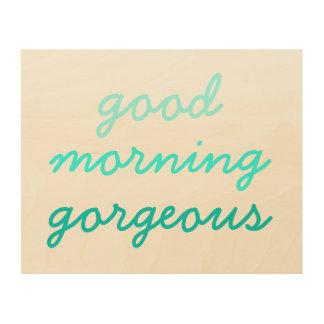 おはようの豪華でおもしろいなヒップスターのガーリーなグラデーション ウッドウォールアート