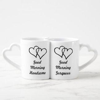 おはようの豪華でハンサムな彼のおよび彼女の物ハート ペアカップ