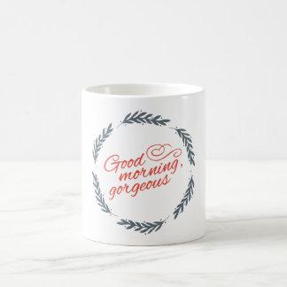 おはようの豪華なタイポグラフィのリース コーヒーマグカップ