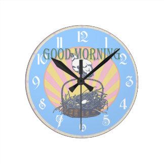 おはようの鶏 ラウンド壁時計