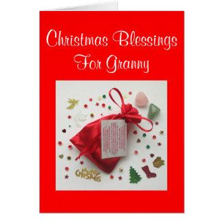 おばあさんのクリスマスカードのためのクリスマスの恵みのバッグ カード