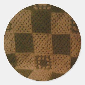 おばあさんの正方形のステッカー ラウンドシール